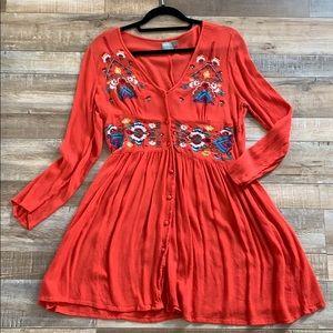 Asos embroidered mini button through dress